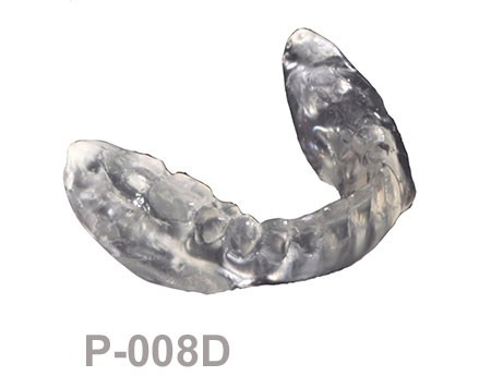 BoneModels P008D - P-008D: Clear mandibular complete denture with or without 4 perforations soft tissue supported - Retromolar pad. Ideal for L-003A o L-003CS.