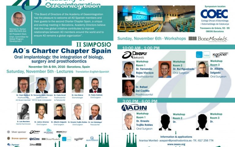 ao spain 767x479 - BoneModels will be sponsor in the second Academy Osseointegration's Charter Chapter Spain