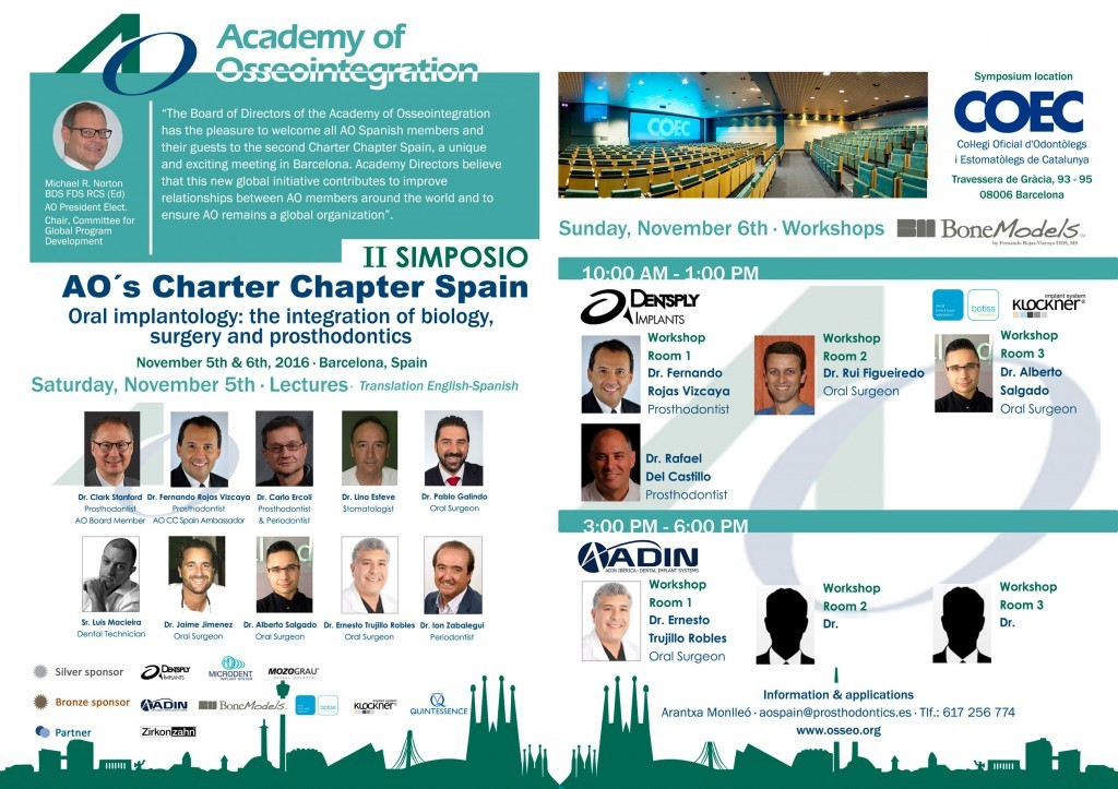 ao spain - BoneModels will be sponsor in the second Academy Osseointegration's Charter Chapter Spain